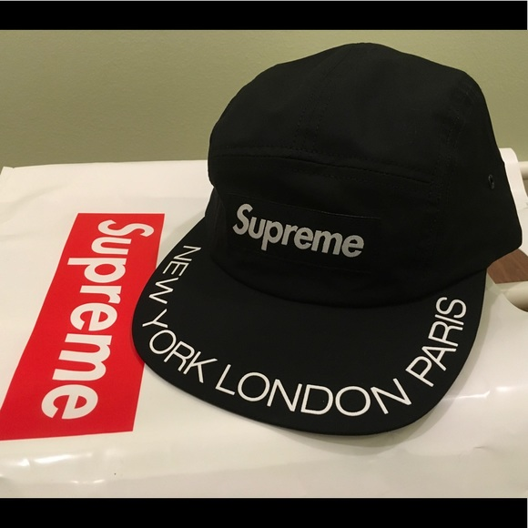 20254cbf6de Supreme Visor Print Logo New York Paris London Cap